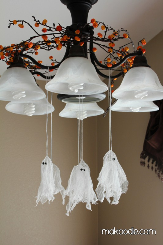 These are easy - cheese cloth and spray starch help create a whole gang of ghosts.
