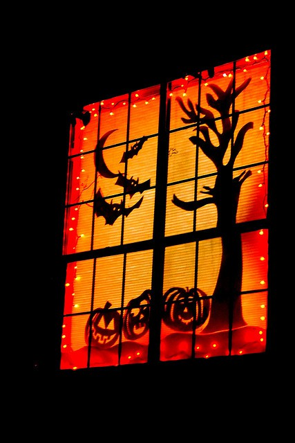 Using black card board - hese are fun for houses to use light to spook trick-or-treaters