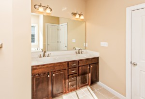 Look at all the storage this bathroom has, plus the dual sinks - perfect for getting ready in the morning.