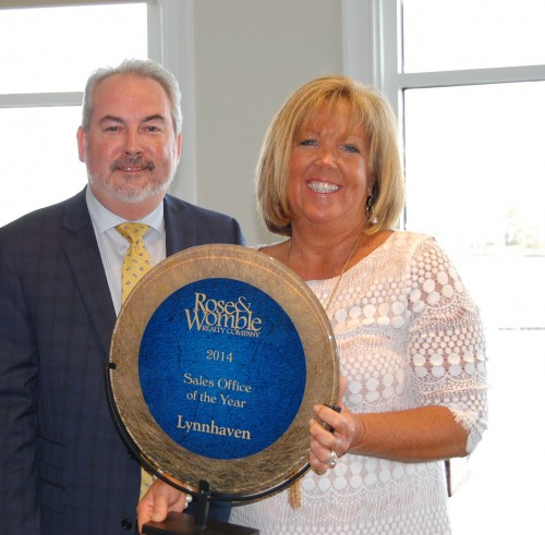 John Daly and Terri Stickle. Lynnhaven was the top selling office for the entire company in 2015