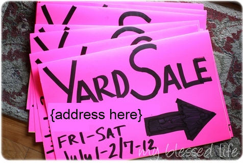 Yard Sale sign idea from MyBlessedLive.net
