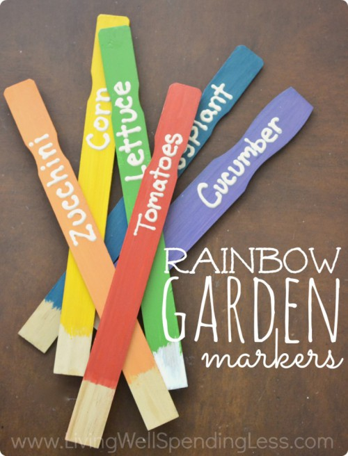 Rainbow garden markers DIY Rose and Womble Realty Company